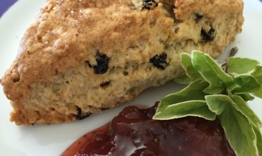 Oatmeal current scone with homemade fig jam
